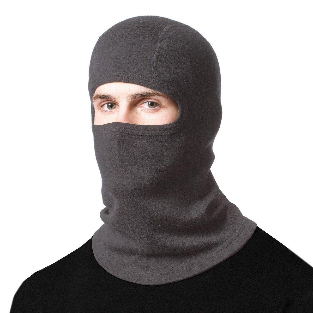 Minus33 Merino Wool Clothing Unisex Midweight Wool Balaclava, Charcoal Grey, One Size