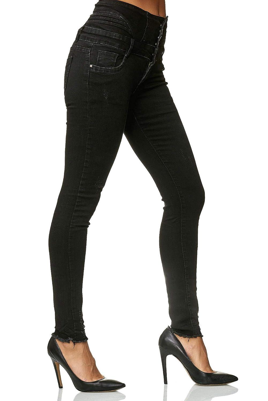 d92442c3edb82f ... JillyMode hochwertige Damen High Waist Stretch Hose Skinny I Schwarz I  Weiß I Grau Gr. ...