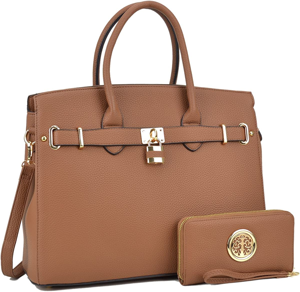 Womens Handbags Stylish Padlock Satchel Tote Handbags with Matching Wallet 2PCs