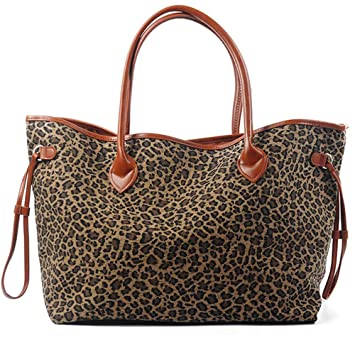 68016838f727 Amazon.com  Oversized Women Canvas Casual Tote Bag Leopard Cheetah Print  Handbag with Faux Leather Handle (Light Brown)  Monogrambuy