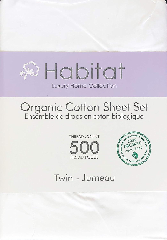 Habitat Organic Cotton Solid White 3pc Twin Sheet Set Luxury Fine Linens 500 Thread Count