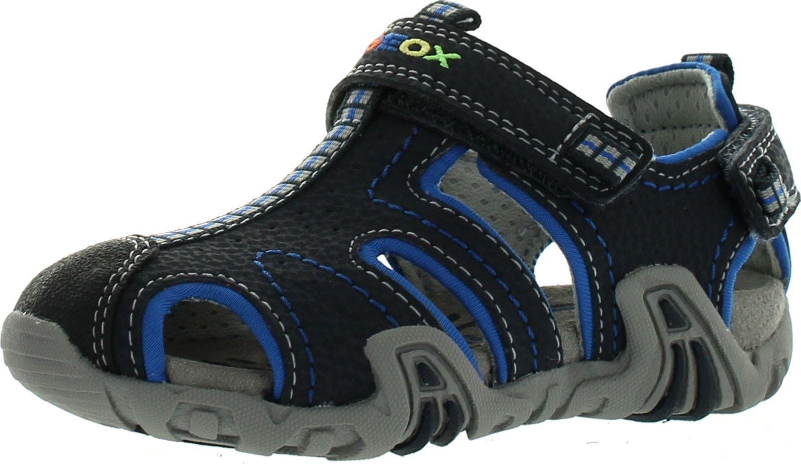 Geox Boys Kraze Fashion Athletic Fisherman Sandals,Navy/Light Blue,22