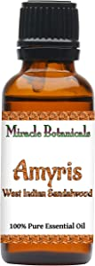Miracle Botanicals Wildcrafted Amyris - West Indian Sandalwood Essential Oil - 100% Pure Amyris Balsamifera - 5ml, 10ml, 30ml, 2oz or 4oz Sizes - Therapeutic Grade - (30ml)