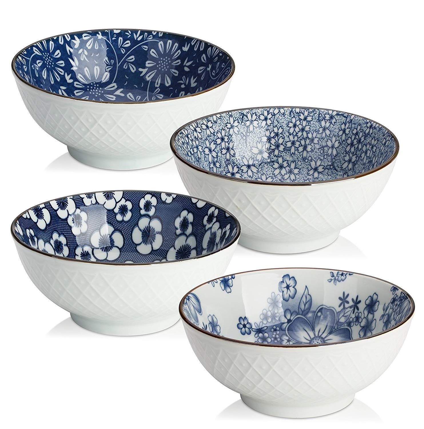 Airmoon Ceramic Bowl Set, Japanese Design Bowls for Cereal/Soup, Blue and White, Set of 4