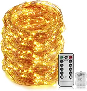 66 Ft 200 LED Fairy Light - Cooper Wire String Light Battery Powered With 8 Modes Remote Control For Indoor&outdoor, For Bedroom Ceiling Wall Tapestry Halloween Christmas Decor (Warm White Colored)