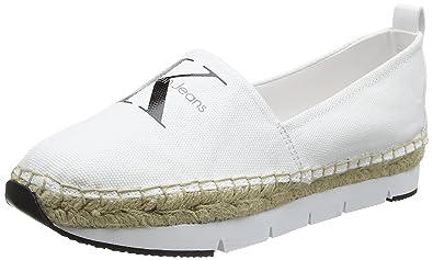84e946e59de9 Calvin Klein Women s Genna Canvas Wht Trainers  Amazon.co.uk  Shoes ...