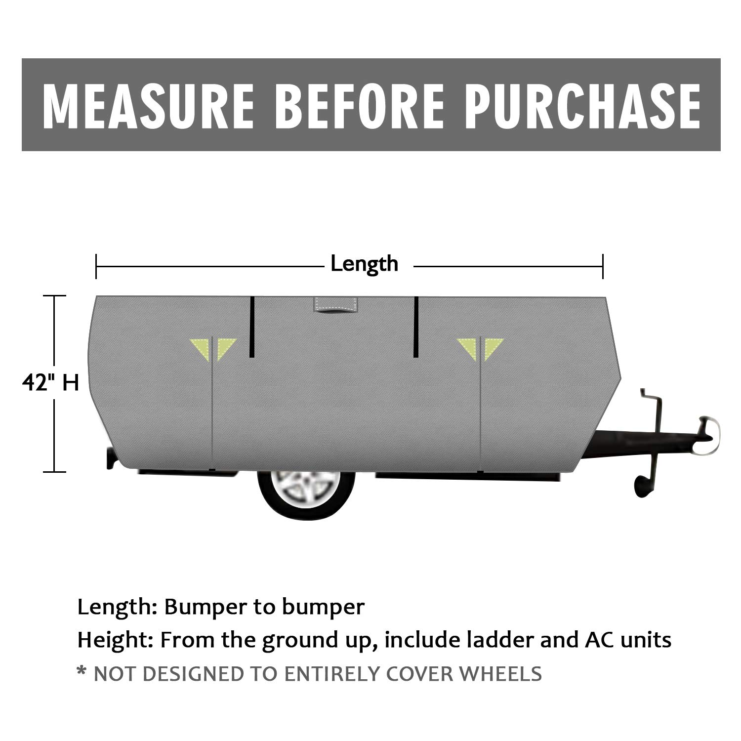 OOFIT 4 Layers Pop-up Camper Cover 12' – 14' Rip-Stop Anti-UV Folding Camper Trailer RV Cover with Adhesive Repair Patch by OOFIT (Image #5)