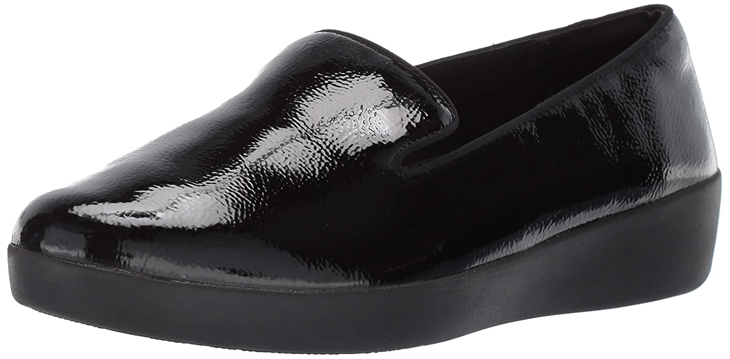 FitFlop Women's Audrey Crinkle Patent Smoking Slippers Loafer Flat