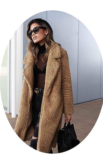 Amazon.com: Chaqueta de lana larga cálida para mujer, otoño ...