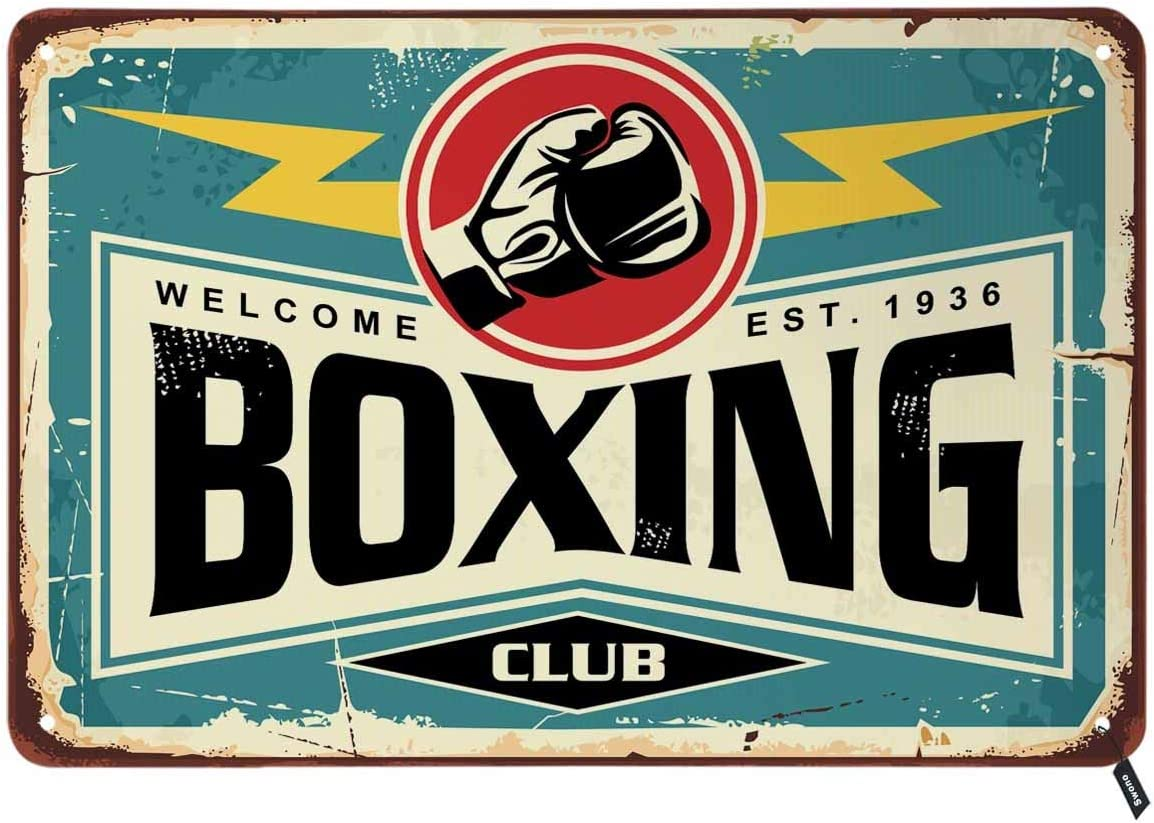 Swono Boxing Club Tin Signs,Vintage Metal Tin Sign for Men Women,Wall Decor for Bars,Restaurants,Cafes Pubs,12x8 Inch