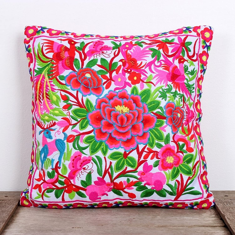 Amazon Ethnic Lanna White Garden Flower Embroidered Cushion