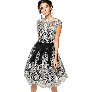LEvifun Vestiti Donna Elegante Cerimonia Swing Maniche Corte del Pannello  Vintage Stampato Cocktail Dance Party Matrimonio Abiti Vestito da Ballo  Gonna in ... 04b72ab4d6a