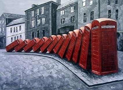 Muy grande antiguo Londres rojo cajas de teléfono de dominó. Óleo ...