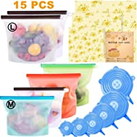 15 Pack Beeswax Wrap & Silicone Food Storage Bag & Silicone Stretch Lids, Eco-Friendly Reusable Food Wraps and Covers, Airtight Seal Food Preservation Bags for Vegetable, Fruit, Snack, Lunch.