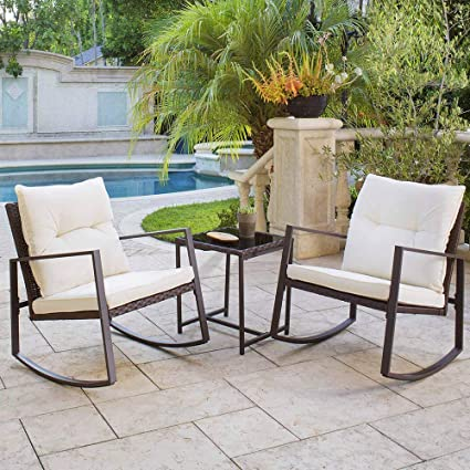 Brown Wicker Patio Furniture.Solaura Outdoor Furniture 3 Piece Bistro Set Brown Wicker Patio Rocking Chairs With Beige Cushions Glass Coffee Table