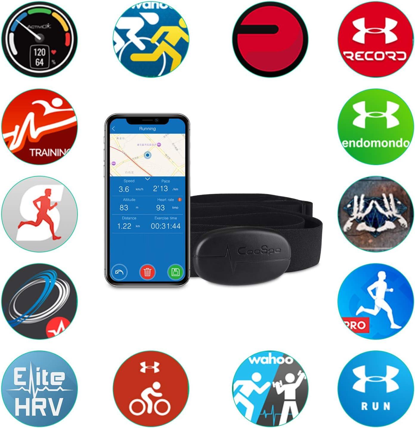 CooSpo Banda de Frecuencia Cardiaca Bluetooth 4.0 Ant+ Monitor ...