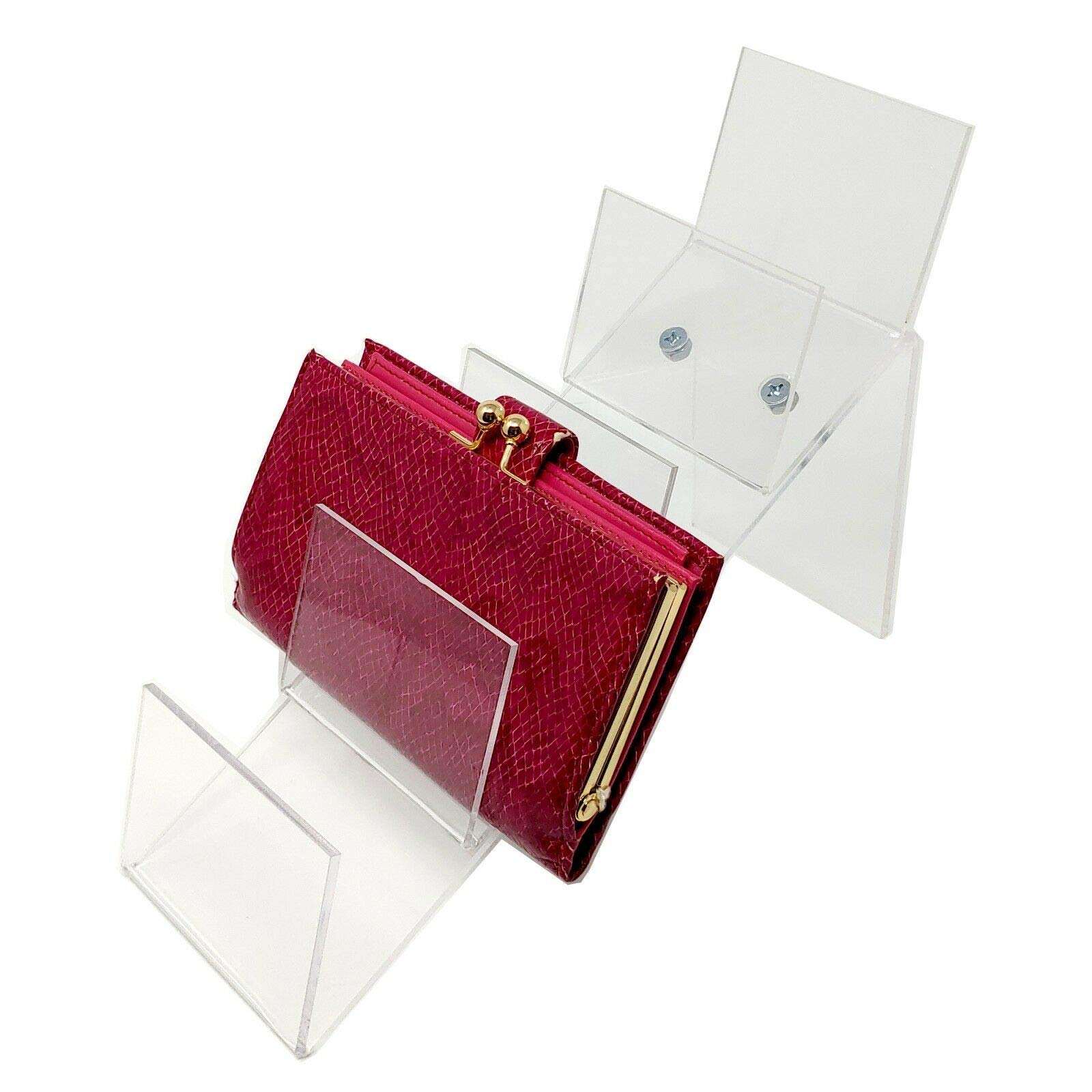 Acrylic Counter Top Clutch Handbag Holding Display for Retail, 7'' D x 5.5'' H x 4'' L, 10 Pack