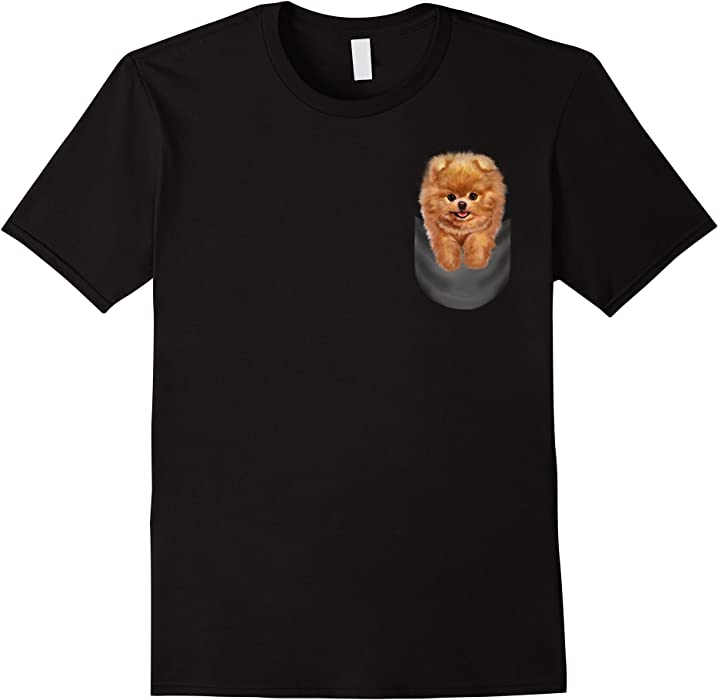 Amazon Mens T Shirt Blonde Toy Pomeranian Puppy In Pocket Dog
