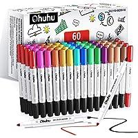 Długopisy tablicowe Ohuhu, 60 sztuk 15 różnych kolorów podwójne końcówki markery do tablicy, czyszczenie na sucho…