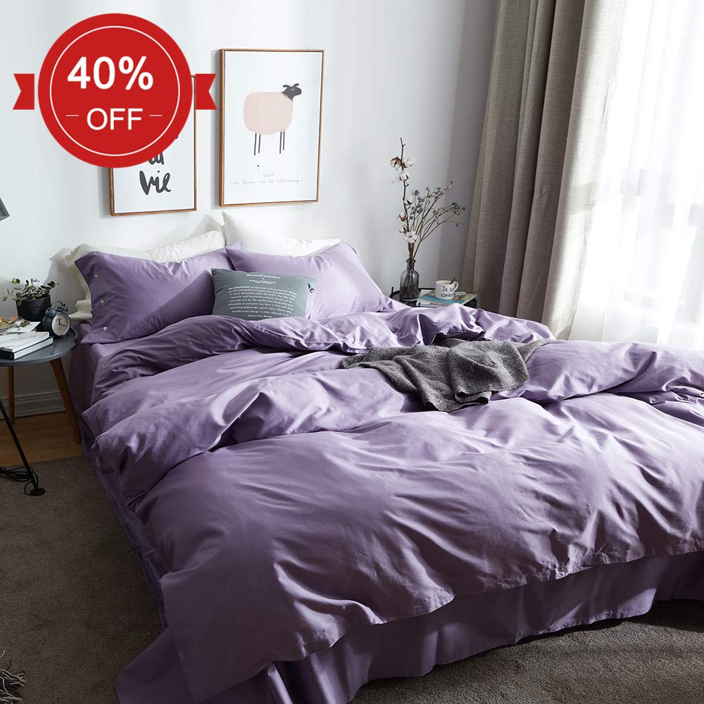 MICBRIDAL Modern Solid Duvet Cover Set Queen, Men Women Luxury Bedding Cover with Two Pillowcases, Soft Breathable Purple Long Staple Cotton Comforter Cover with Button Closure Durable Hotel Quality