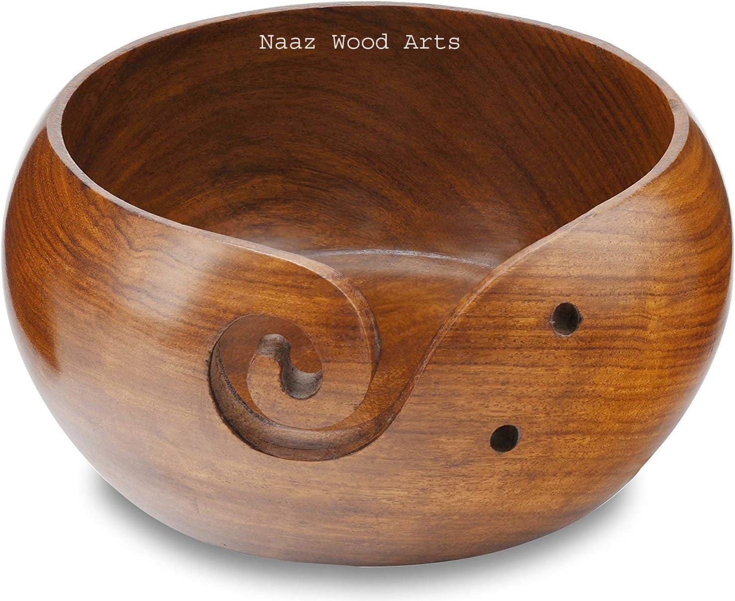 Crochet For Moms Mango Wood Yarn Bowl 6 inch for knitting Handmade Wooden Bowl