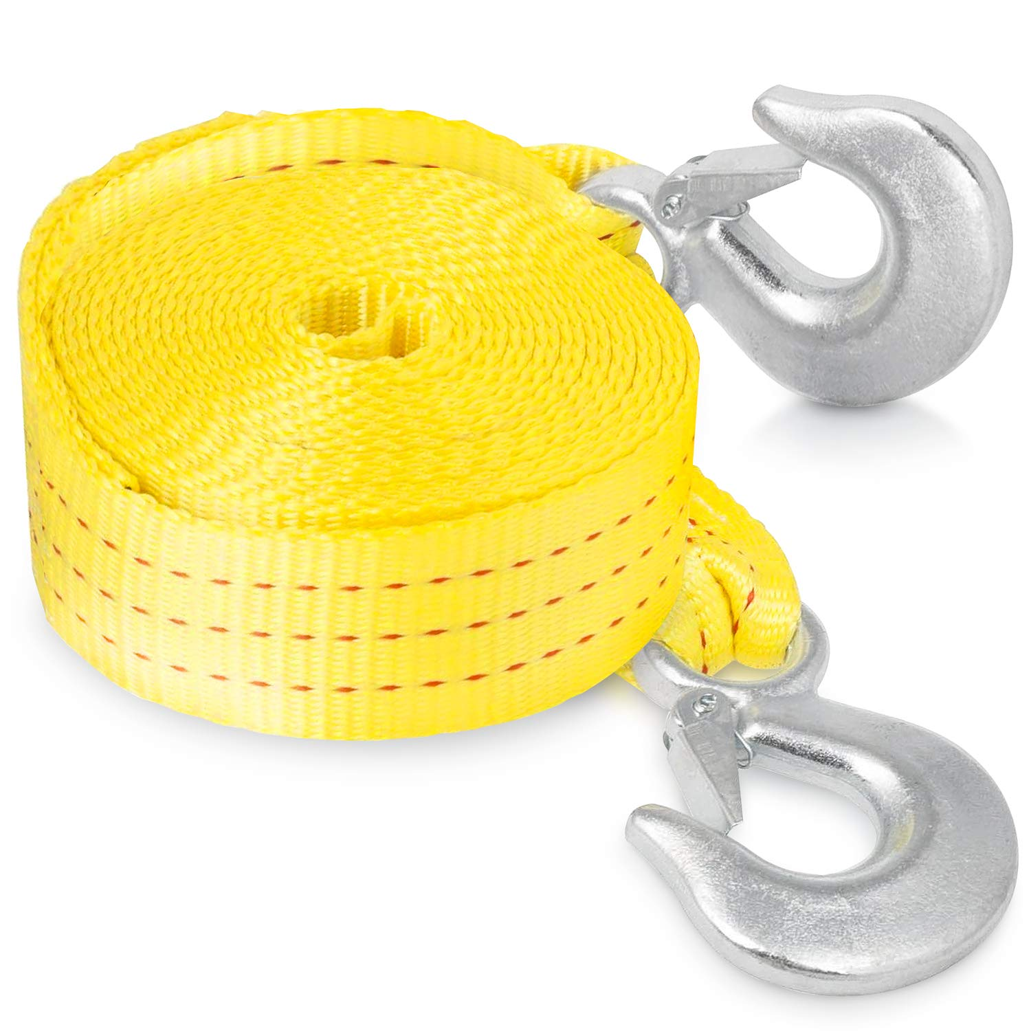 Tow Rope 1.65 X 13 Heavy Duty Strap with Hooks Nylon 5 Ton Polyester 11,000lb Towing Recovery Tow Strap