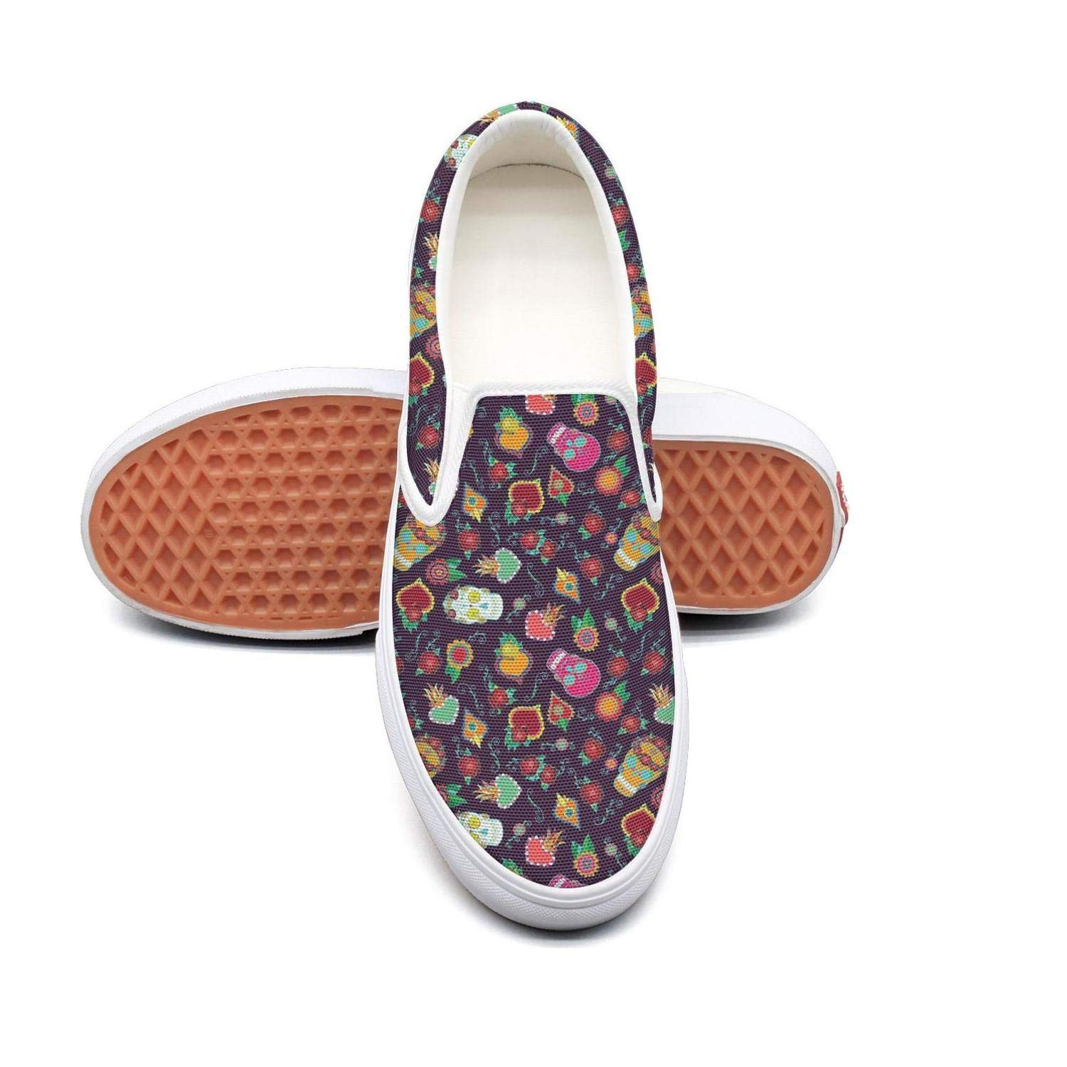 Dia De Los Muertos Skull Slip On Canvas Upper Loafers Canvas Shoes for Women Round Toe