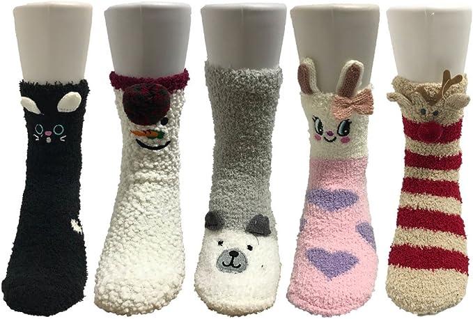 Z-Chen Pack de 5 pares de calcetines para dormir Mujer Térmicos ...