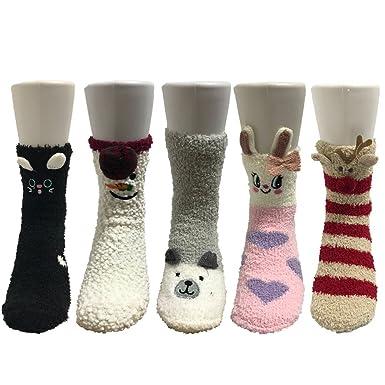 Z-Chen Pack de 5 pares de calcetines para dormir Mujer Térmicos Invierno, Set 1: Amazon.es: Ropa y accesorios