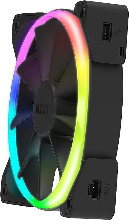 NZXT AER RGB 2 120mm Personnalisations avancées de l'éclairage Pointes d'ailettes Palier hydrodynamique Ventilateur PWM RGB LED pour Hue 2