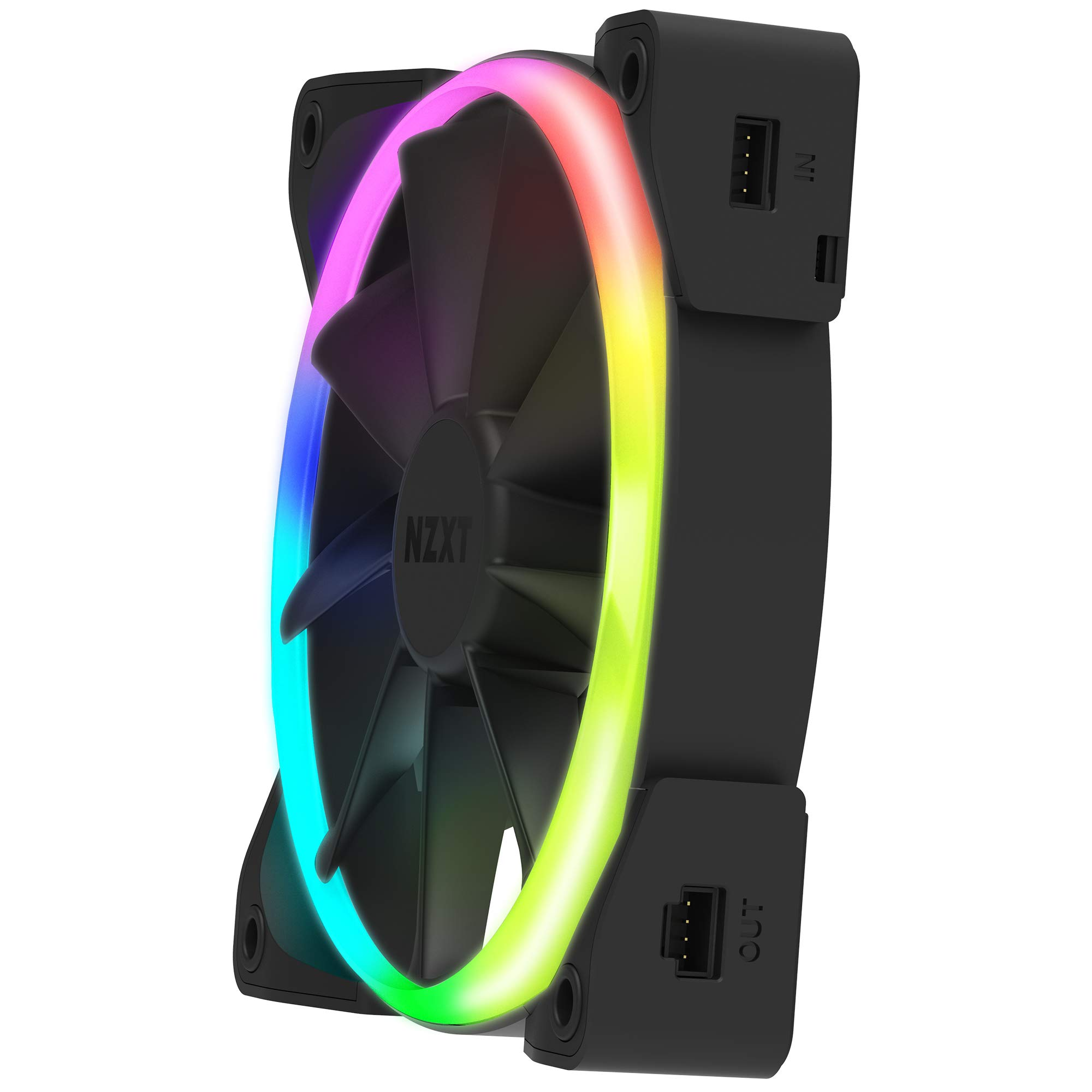 NZXT AER RGB 2 - 3-Pack of 120mm RGB PWM Fans with Hue 2 Lighting Controller - Advanced Lighting Customizations - LED RGB PWM Fans - Winglet Tips - Fluid Dynamic Bearing -  PC Case Fan by NZXT (Image #4)