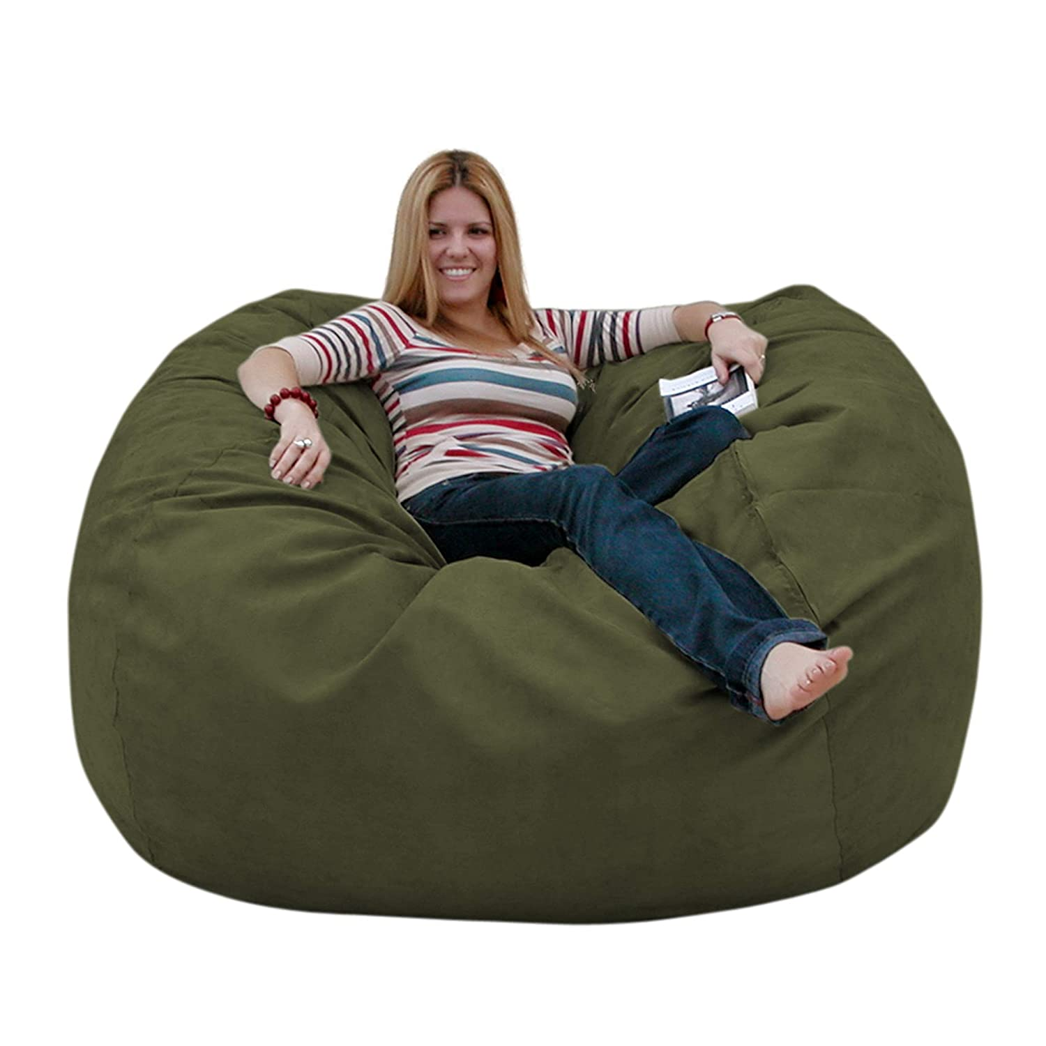 Olive 5 feet Cozy Sack 4-Feet Bean Bag Chair, Large, Navy