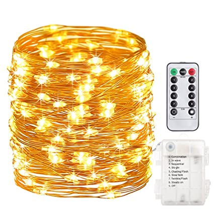 gdealer 100 led 33ft fairy lights fairy string lights battery operated waterproof 8 modes remote control - Battery Christmas Lights Amazon