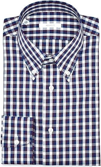 Marcus Camisa de hombre a cuadros con botón Down de algodón ...
