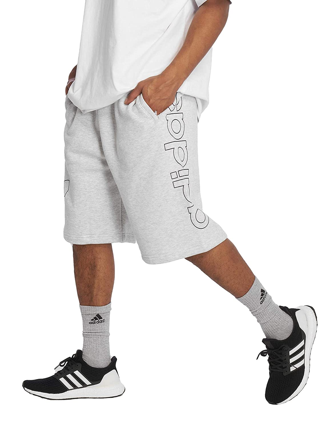 adidas Off Court Shorts (1/2), Hombre, Light Grey Heather/Collegiate Navy, S
