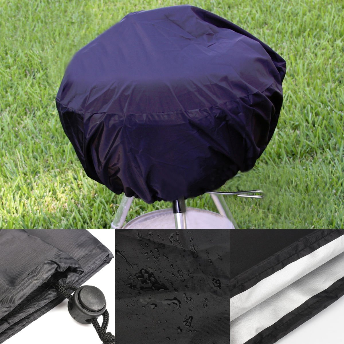 Round BBQ Grill Cover Strongly with Easy fasten drawstring fits Weber Jumbo Joe Gold 18'' tabletop model Strongly Lightweight and easy to clean Protection against sunshine, rains, snows black color