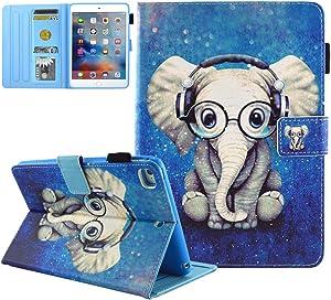 iPad Mini Case, iPad Mini 2/3 Case, iPad Mini 4 Case, iPad Mini 5 Case,JZCreater Folio Stand Wallet Case with Auto Sleep/Wake for Apple iPad Mini 1/2/3/4/5, Elephant