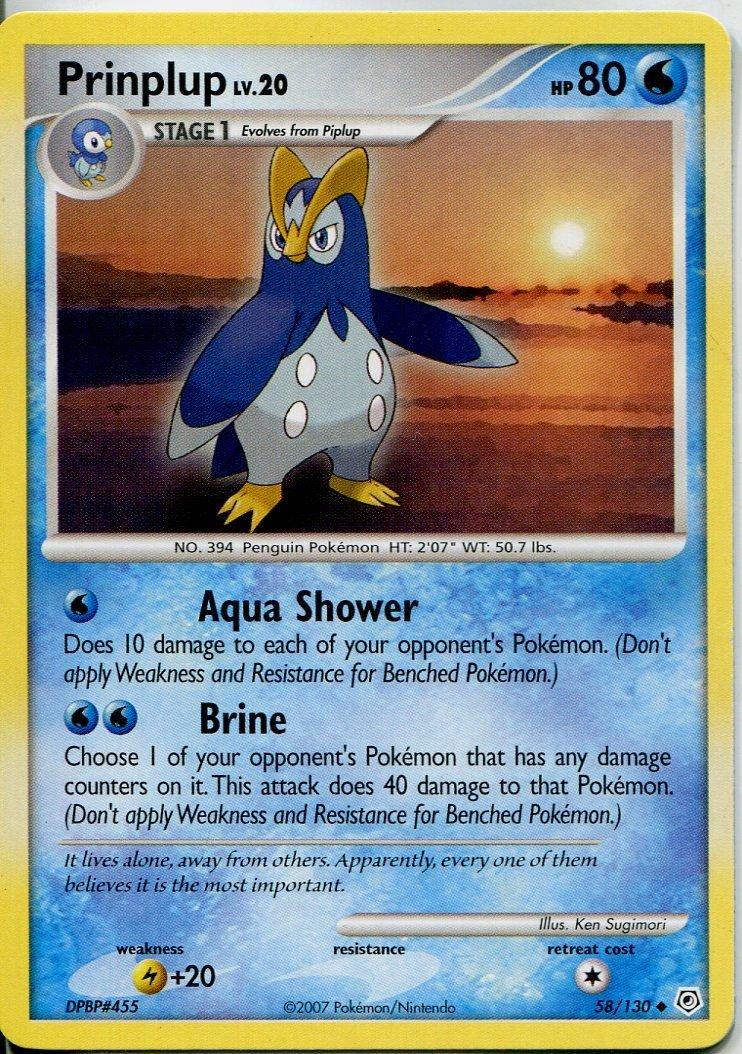 Prinplup Pokemon Diamond /& Pearl Base Uncommon #58//130