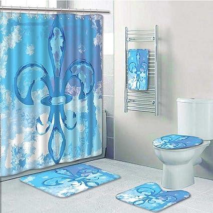 Beau 5 Piece Bathroom Set  Flower Like Frozen Heredic Nobility Emblem Queenly  Style Print Blue