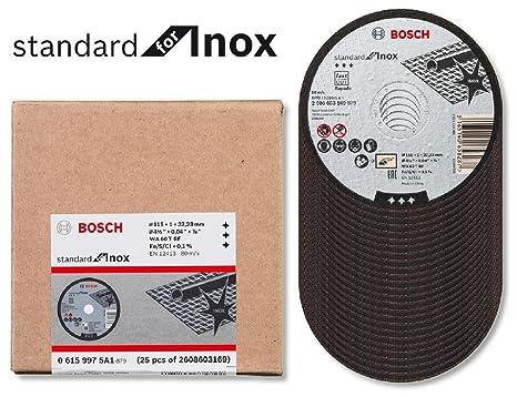 Bosch 2608603169 Disco de corte de metal 115 x 1 x 22,23 mm, estándar, acero inoxidable paquete de 25: Amazon.es: Bricolaje y herramientas