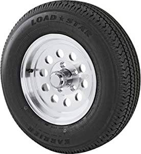 Kenda Loadstar Karrier Aluminum 14in. Radial Trailer Tire and Wheel Assembly - ST205/75R-14, 5-Hole, Load Range C, Model Number DM205R4C5AMM
