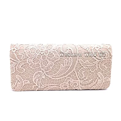 b567428b436 Wocharm (TM) Ladies satin lace cream navy red black lace satin evening  clutch bag wedding fashion prom bridal handbag