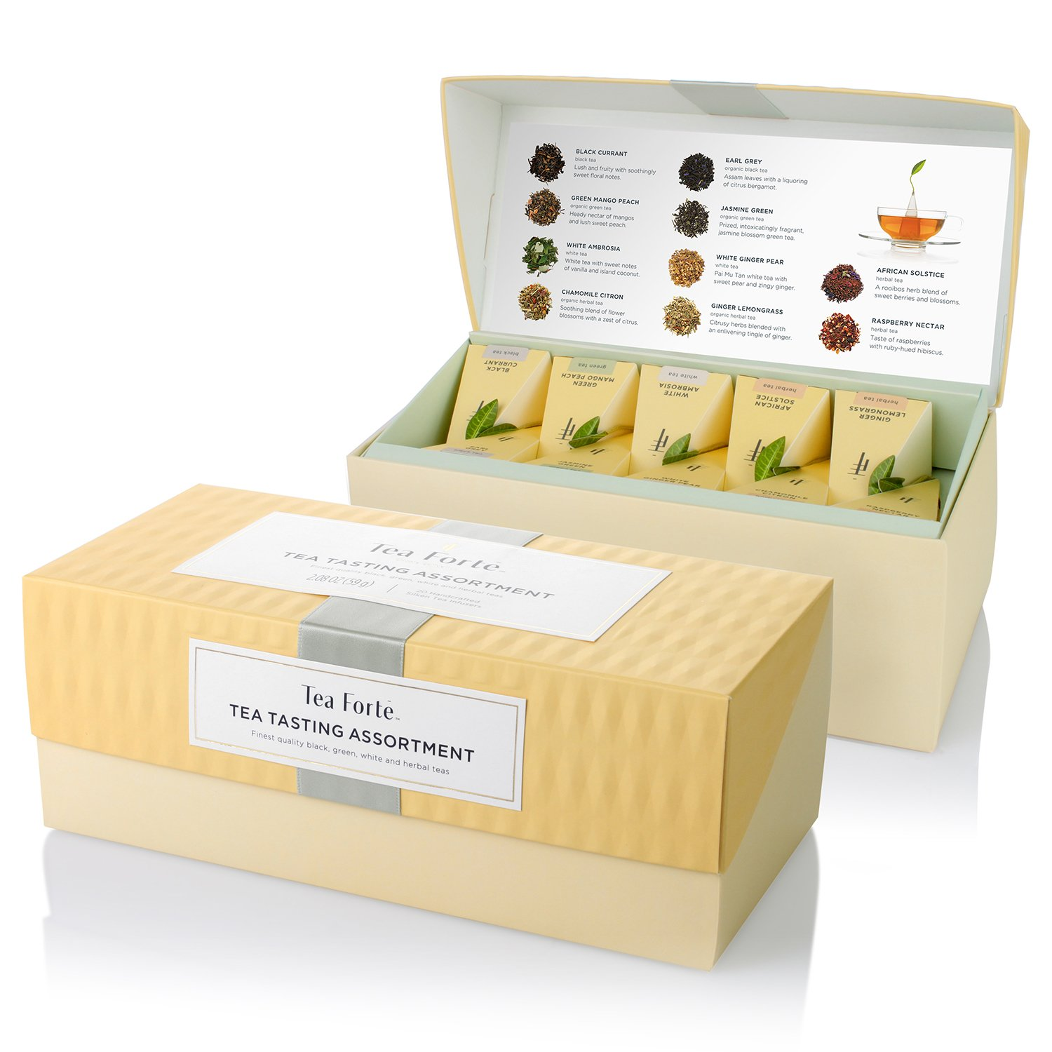 Tea Forte Tea Tasting Assortment Presentation Box Tea Sampler, Assorted Variety Tea Box, 20 Handcrafted Pyramid Tea Infuser Bags – Black Tea, White Tea, Green Tea, Herbal Tea