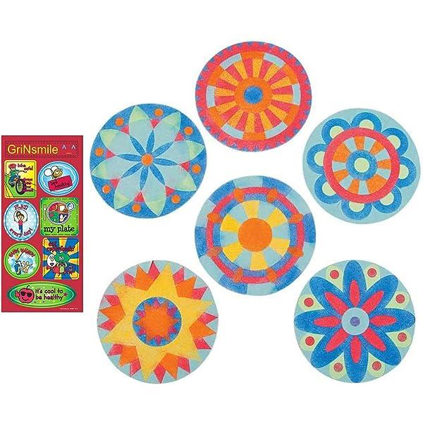 GnS Beautiful Mandala Sand Art Pictures Brilliant Colors 12 Kits Free Bonus Sticker