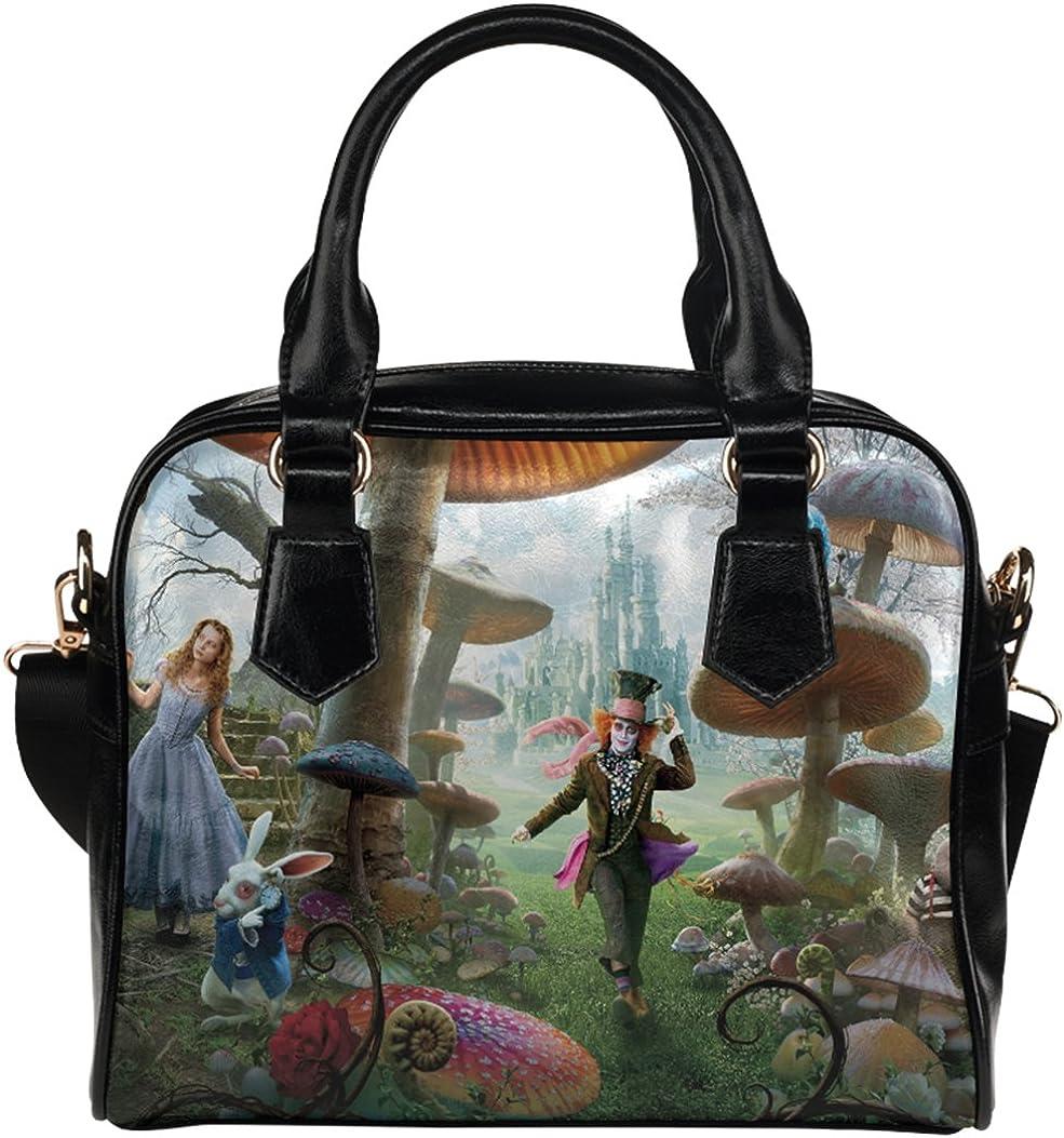 Fashionable Female Shell Shoulder Handbag Crossbody Handbag with Alice In Wonderland Theme
