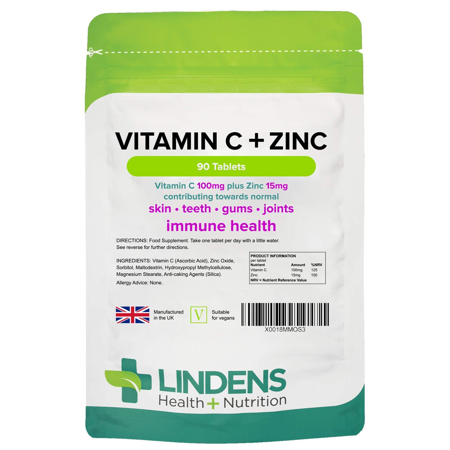 Vitamin C + Zinc - 90 Tablets - Contributes to Normal Skin, Teeth, Gums, Immune System & Joints - 3 Months' Supply - UK Manufacturer, Letterbox Friendly