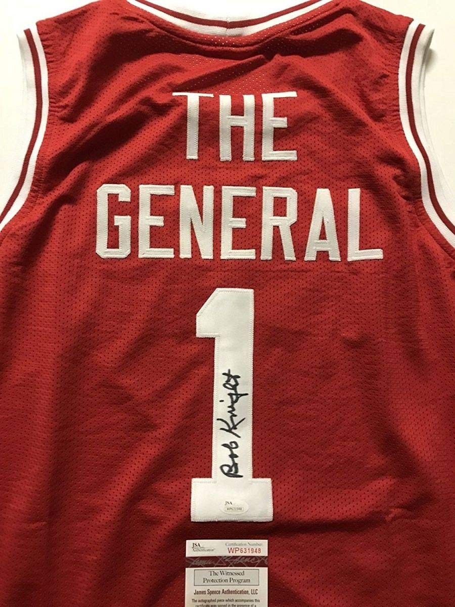 Autographed Signed Bobby Bob Knight The General Indiana Hoosiers Red  Basketball Jersey JSA COA 2b23fb431