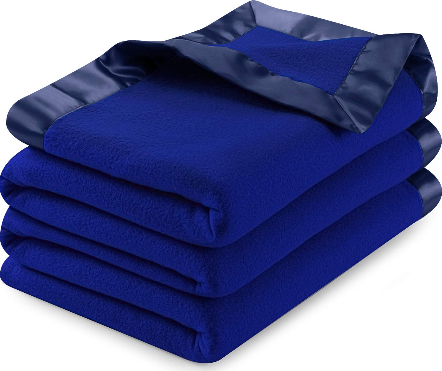 Utopia Bedding Sateen Polar Fleece Blanket with Sateen Ribbon Edges (Navy, Queen) – Extra Soft Brush Fabric – Super Warm, Lightweight Bed/Couch Blanket – Easy Care