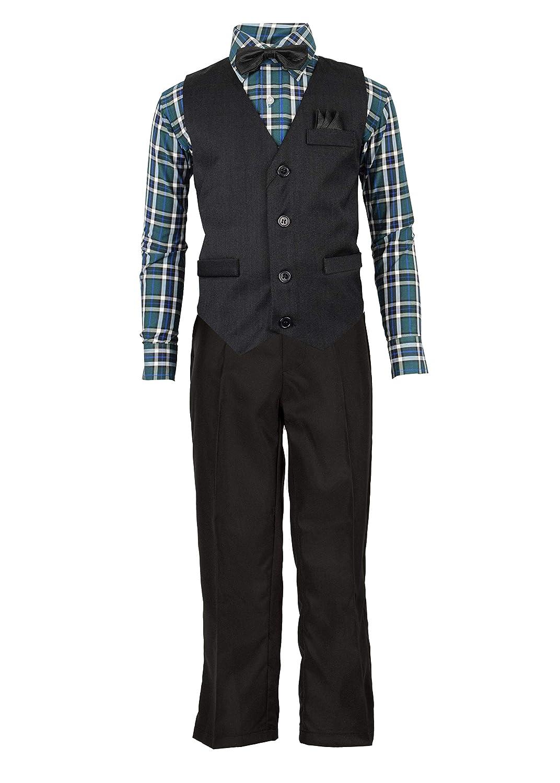Vittorino Boys 4 Piece Suit Set with Vest Dress Shirt Tie Pants and Hankerchief