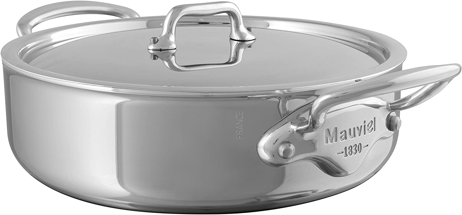 Mauviel Made In France M'Cook 5 Ply Stainless Steel 3.4-Quart Rondeau with Lid, Cast Stainless Steel Handle